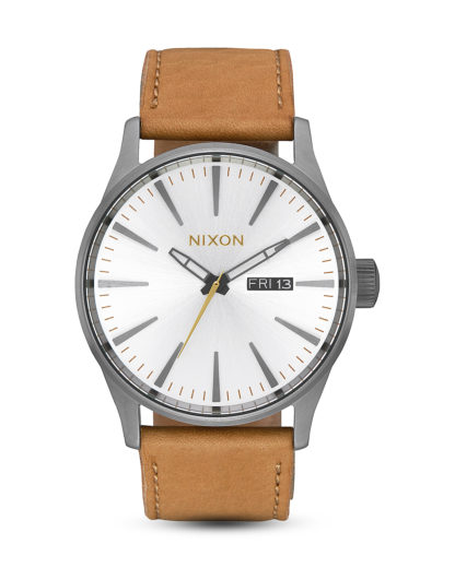 Quarzuhr Sentry Leather A105-2741-00 Gunmetal / Silver / Tan  NIXON braun,grau,weiß 3608700231068