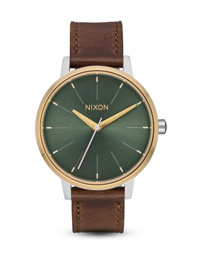 Quarzuhr Kensington Leather A108-2877-00 Silver / Gold / Agave NIXON braun,gold,grün,silber 3608700311555