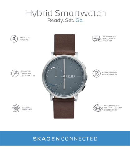 Hybrid-Smartwatch Hagen Connected SKT1110 SKAGEN CONNECTED Herren Leder 4053858835436