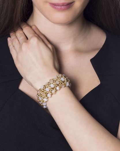 Armband Demy mattgold sand Sweet Deluxe beige,gold Glas 4052478035509