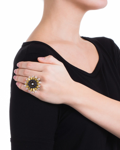 Ring EVERgrün COLLECTION Kunststoff TATABORELLO gold,mehrfarbig  4250945503005