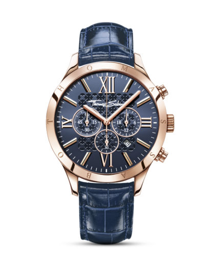 Chronograph Rebel at Heart WA0211-270-209-43 mm THOMAS SABO blau,roségold 4051245156270