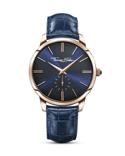Quarzuhr Rebel at Heart WA0212-270-209-42 mm THOMAS SABO blau,roségold 4051245156287