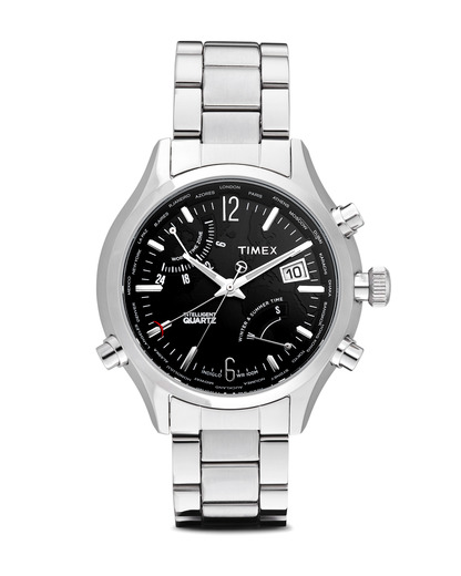 Quarzuhr Intelligent Quartz™ World Time T2N944 TIMEX schwarz,silber 753048414420