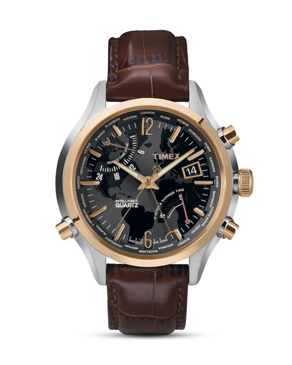 Quarzuhr Intelligent Quartz™ World Time T2N942 TIMEX braun,roségold,schwarz 753048414505