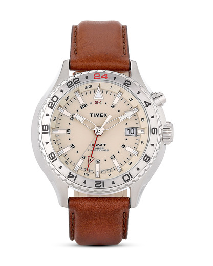 Quarzuhr Timex® 3-GMT mit Intelligent Quartz™ Technologie T2P426 TIMEX braun 753048525102