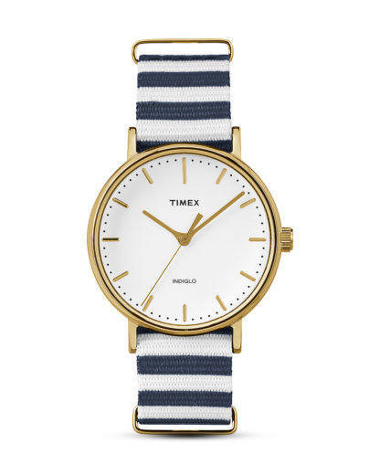 Quarzuhr The Fairfield Women's TW2P91900 TIMEX blau,gold,weiß 753048637324