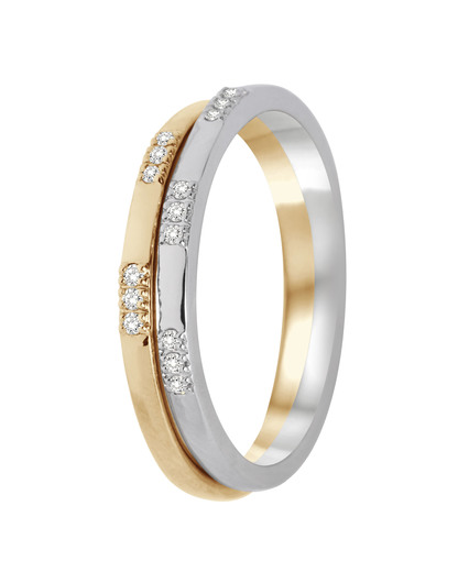 Ring aus 375 Bicolor-Gold mit 0.10 Karat Diamanten VALERIA