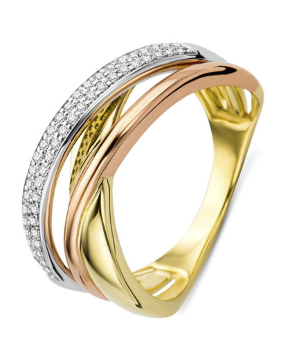 Ring aus 375 Tricolor-Gold mit 0.2 Karat Diamanten VALERIA