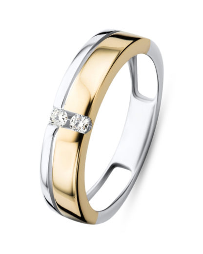 Ring aus 585 Bicolor-Gold mit 0.06 Karat Diamanten VALERIA