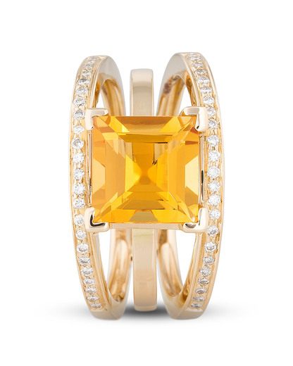 Ring aus 750 Gold mit 0.28 Karat Diamanten & Zitrin VALERIA gold,weiß,orange Zitrin,Diamant