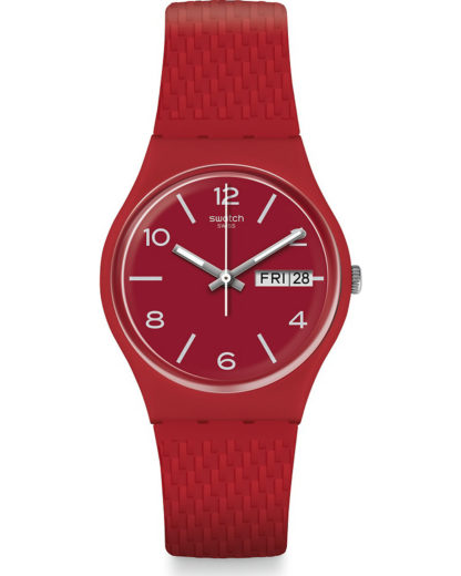 Swatch Herren-Uhren Analog Quarz Swatch rot 7610522809468